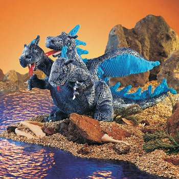 folkmanis Blue Three Headed Dragon Puppet
