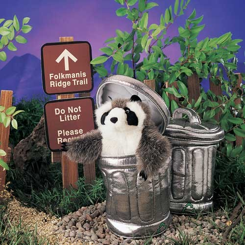 folkmanis Raccoon in Garbage Can puppet