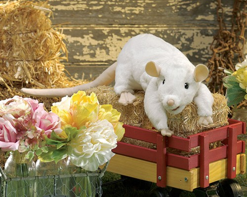 folkmanis Rat White puppet